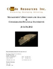 Claude Resources Inc. Q2 2012 MD&A ...