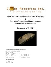 Claude Resources Inc. 2011 Third Qu...