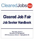 Cleared Job Fair Job Seeker Handbook April 5, 2012, Springfield, VA