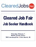 Cleared Job Fair Job Seeker Handbook Feb 7, 2013, Tysons Corner, VA