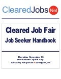 Cleared Job Fair Job Seeker Handbook Nov 15, 2012, Crystal City, VA
