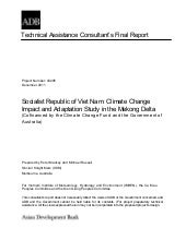 Climate change impact and adaptation study in the mekong delta