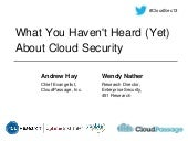 What You Haven't Heard (Yet) About Cloud Security