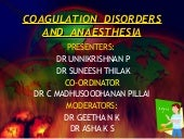 Coagulation Disorders and Anesthesi...