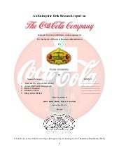 Coca-cola company project report MB...