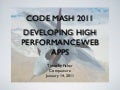 Developing High Performance Web Apps - CodeMash 2011