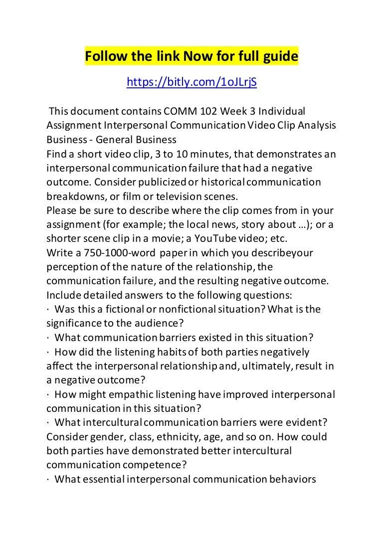 Interpersonal communication assignment