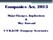 Companies Act, 2013 - Major changes...