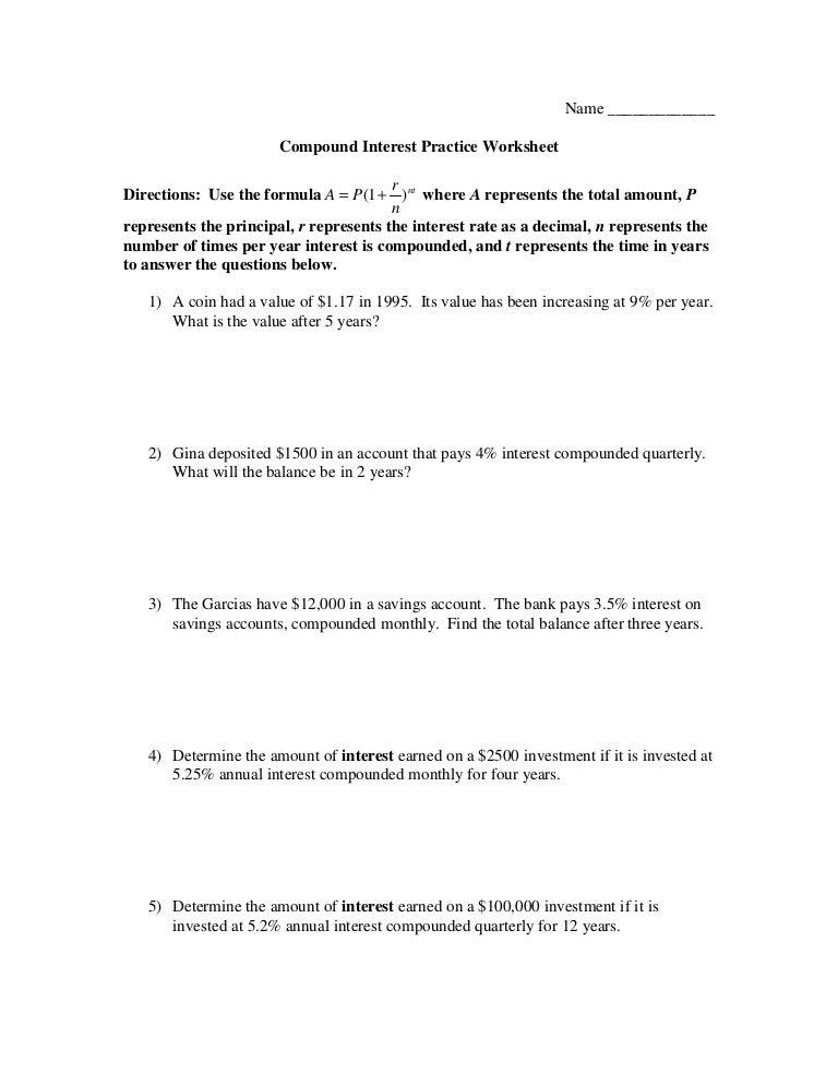 Worksheets. Compound Interest Practice Worksheet. Opossumsoft ...