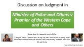 Discussion on Judgment in Minister ...