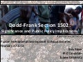 Dodd-Frank Section 1502: Significance and Public Policy Implications