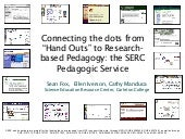 "Connecting the dots from ""Hand Outs"" to Research-based Pedagogy: the SERC Pedagogic Service"