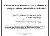 Consumer Food Behaviour & Food Choices 2015