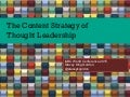 Content Strategy of Thought Leadership - Speed Presentation