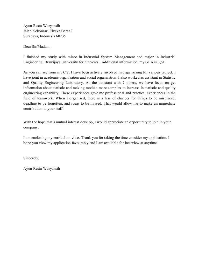 contoh cover letter lamaran kerja fresh graduate