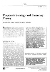 Corporate strategy and parenting th...