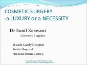 Cosmetic surgery by Dr. Sunil Keswani, National Burns Centre, Airoli