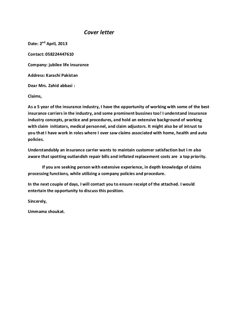 claims assistant cover letter