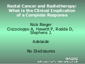 Rectal Cancer and Radiotherapy:Wha...