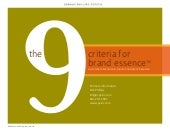 The 9 Criteria for Brand Essence (TM)
