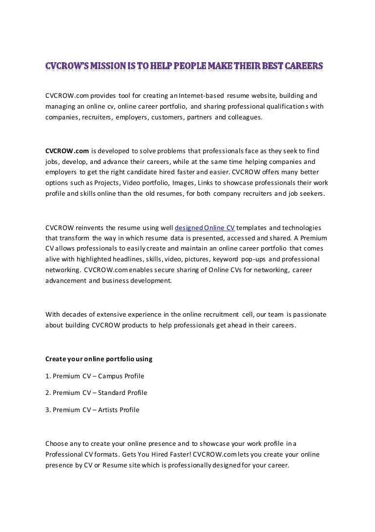 create your unique professional online resume cv cvcrow com