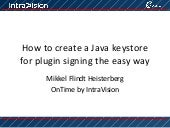 Creating a keystore for plugin sign...