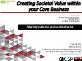 Creating Societal Value within your Core Business:  Aligning business and societal interests
