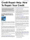 Credit Repair Help: How To Repair Your Credit