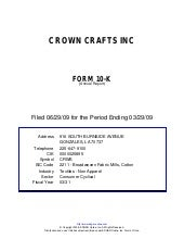 Q2 2009 Earning Report of Crown Cra...