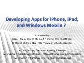 iPad, iPhone and Windows Mobile 7 Apps