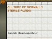Culture of normally sterile fluids