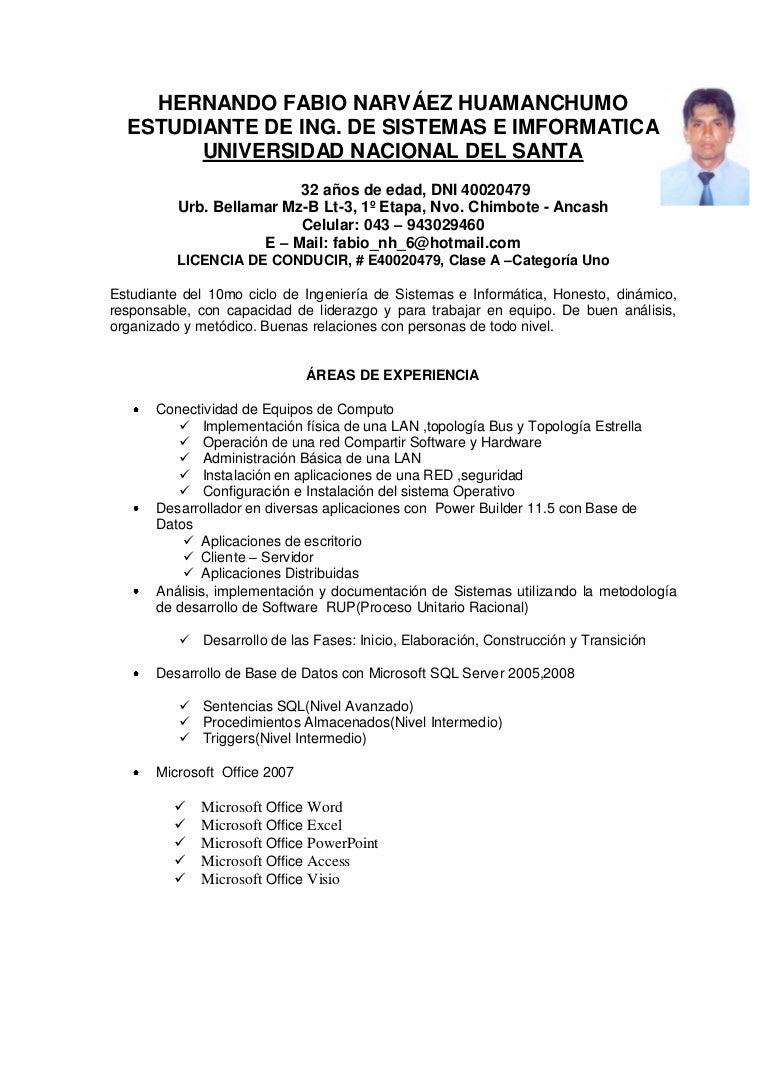 Famoso Plantillas De Curriculum Vitae De Soporte Informático ...