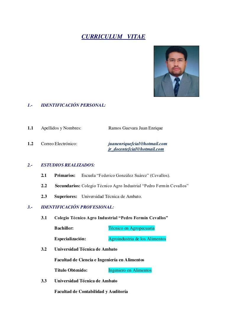 modelo de curriculum vitae tecnico