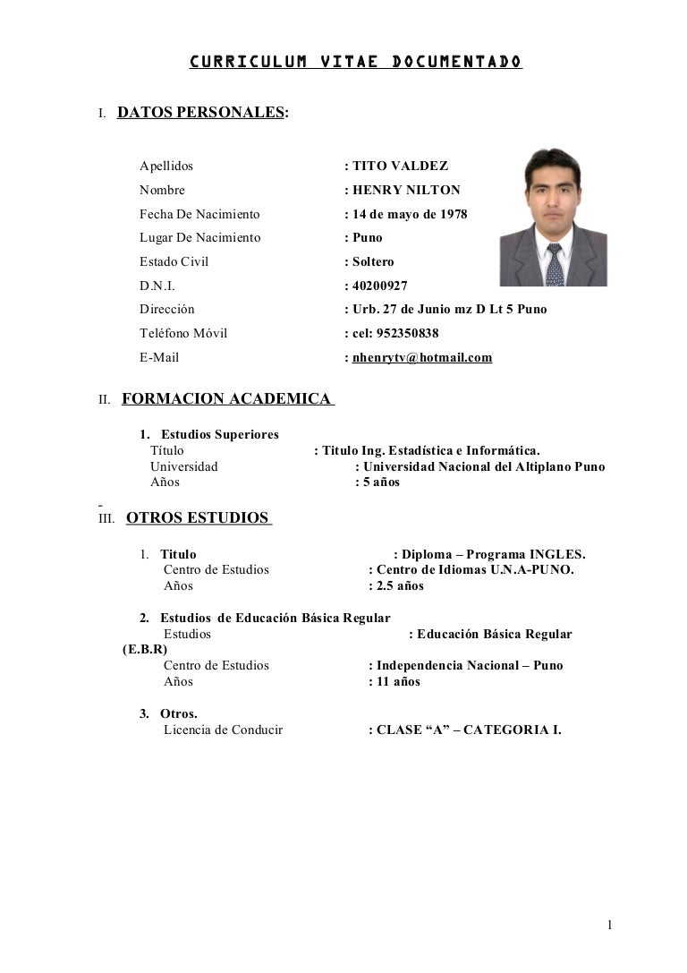 Lovely Formato Curriculum Vitae Filetype Doc Gallery - Entry Level ...