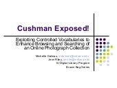 Cushman Exposed! Exploiting Controlled Vocabularies to Enhance Browsing and Searching of an Online Photograph Collection