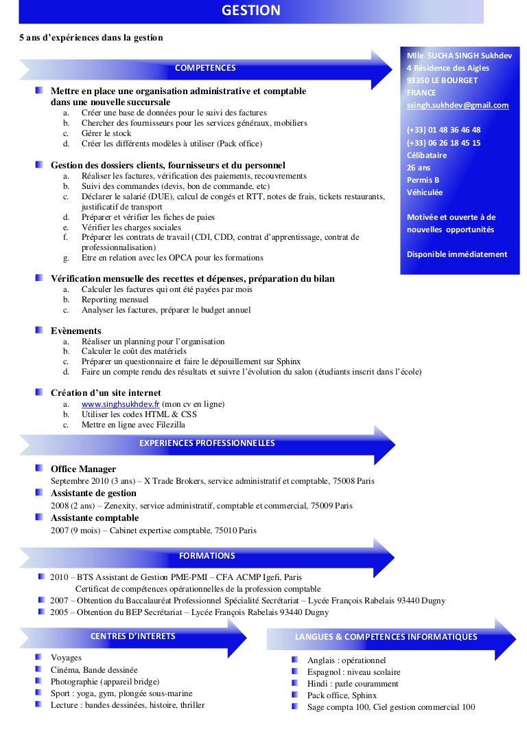 exemple cv bts assistant de gestion pme pmi