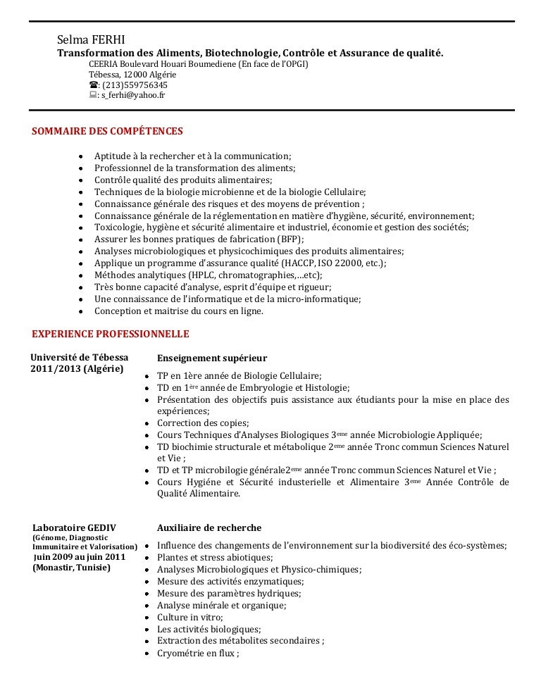 exemple cv microbiologiste