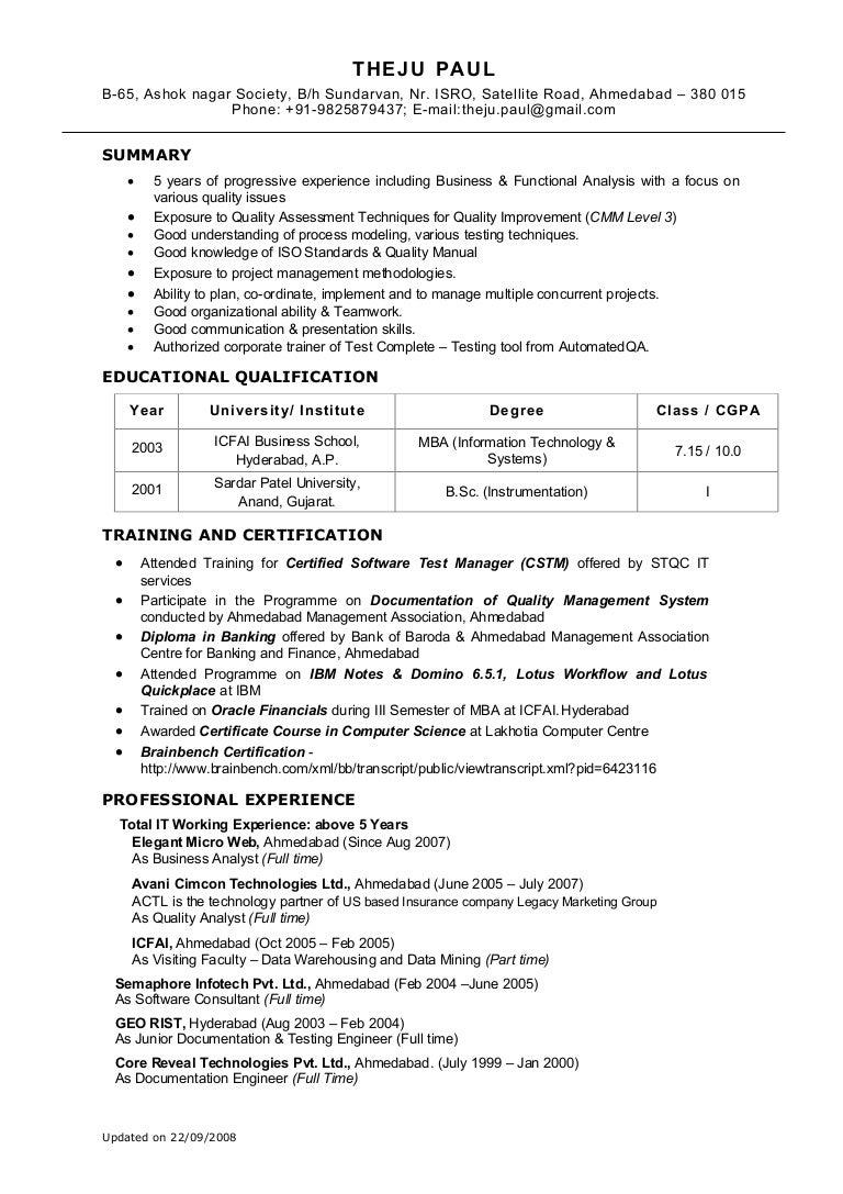 resume for business analyst senior business analyst resume sample ...
