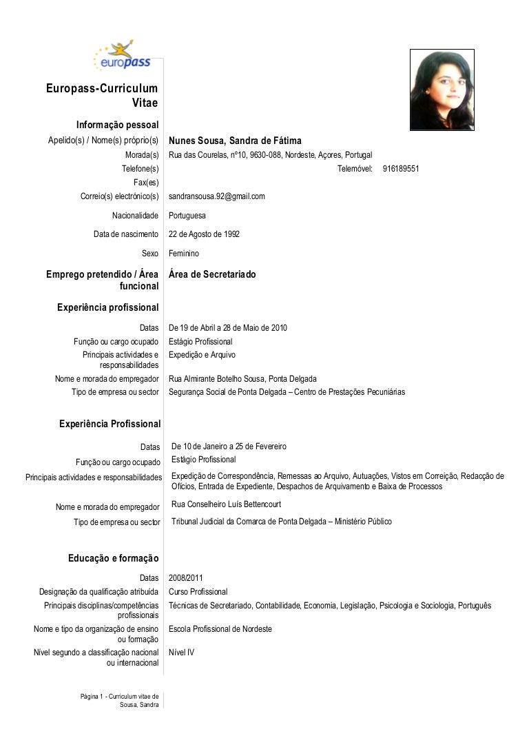 curriculum vitae model - Lebenslauf Europass