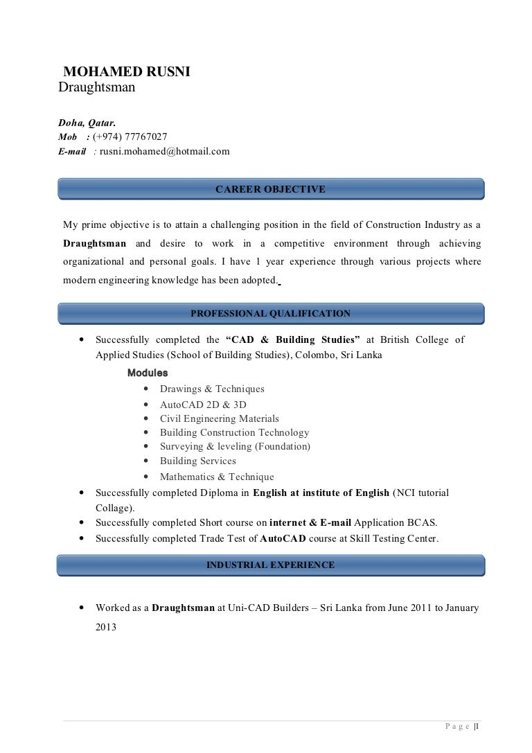 Sample Resume Civil Draftsman Eliolera Com