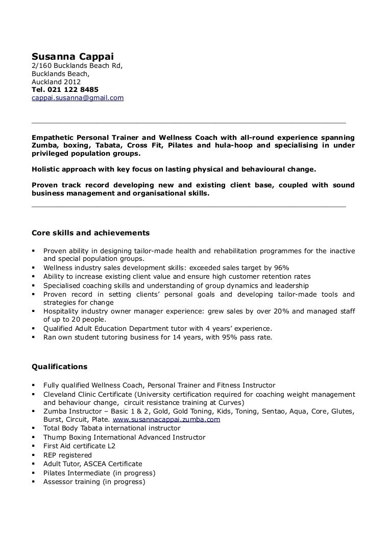 personal training cv zumba fitness instructor resume ...