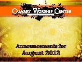 CWC announcements-Aug. 2012