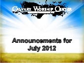 CWC Announcements - July 2012
