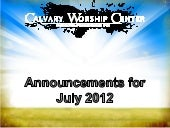 CWC announcements July 2012