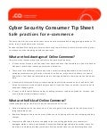 Cyber Security Consumer Tip Sheet Safe Practices for e-Commerce