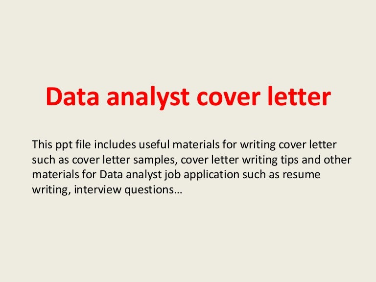 Data analyst cover letter
