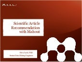 Scientific Article Recommendation with Mahout