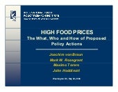 HIGH FOOD PRICES: The What, Who and...