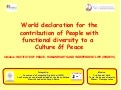 World declaration for the contribution of People with functional diversity to a Culture of Peace