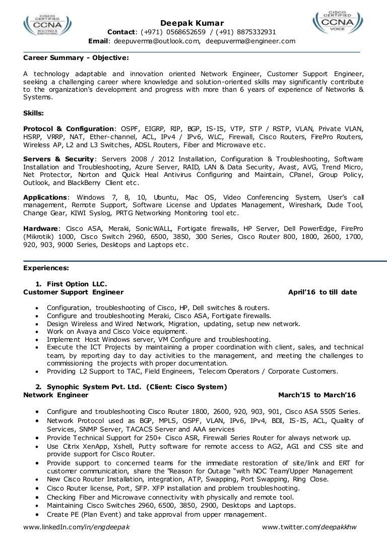sample resume network engineer resume format for network engineer ...